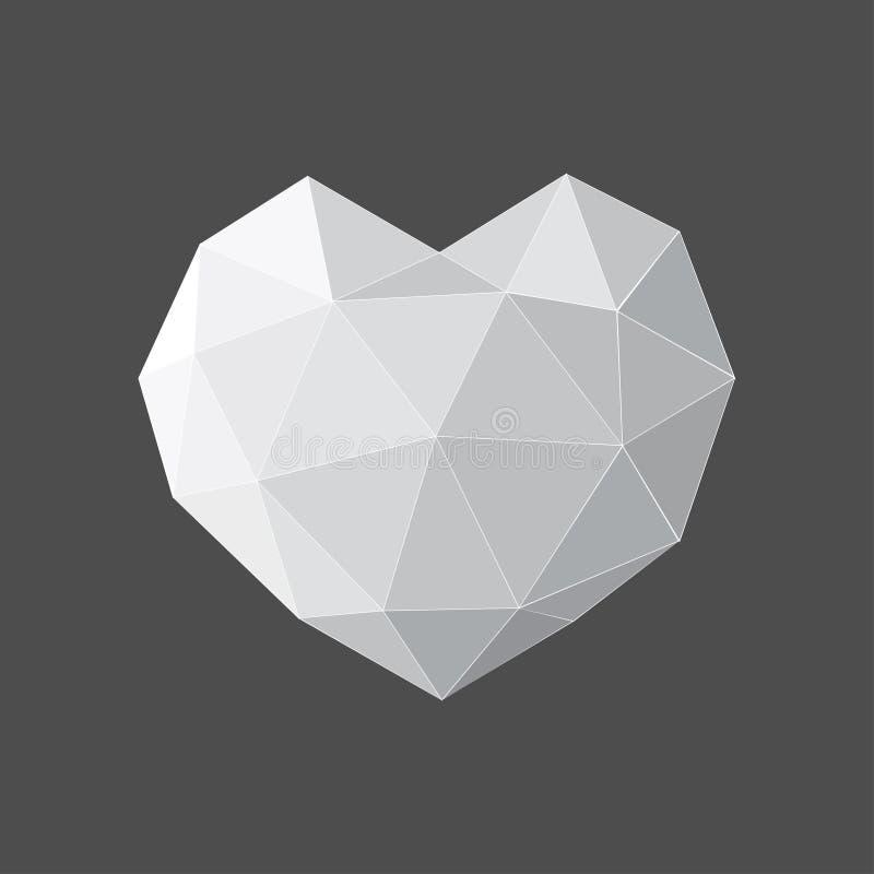 Coeur gris d'isolement sur le fond noir Le bas poly origami triangulaire fripé géométrique dénomme l'illustration de graphique de illustration stock