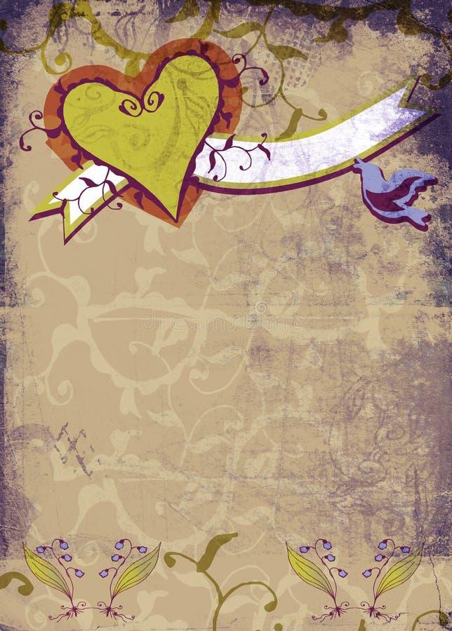 Coeur grunge et fleurs illustration de vecteur