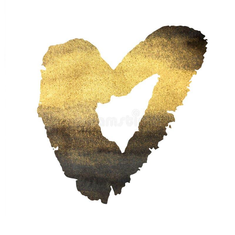 Coeur grunge sur le blanc, l'or et le noir illustration stock