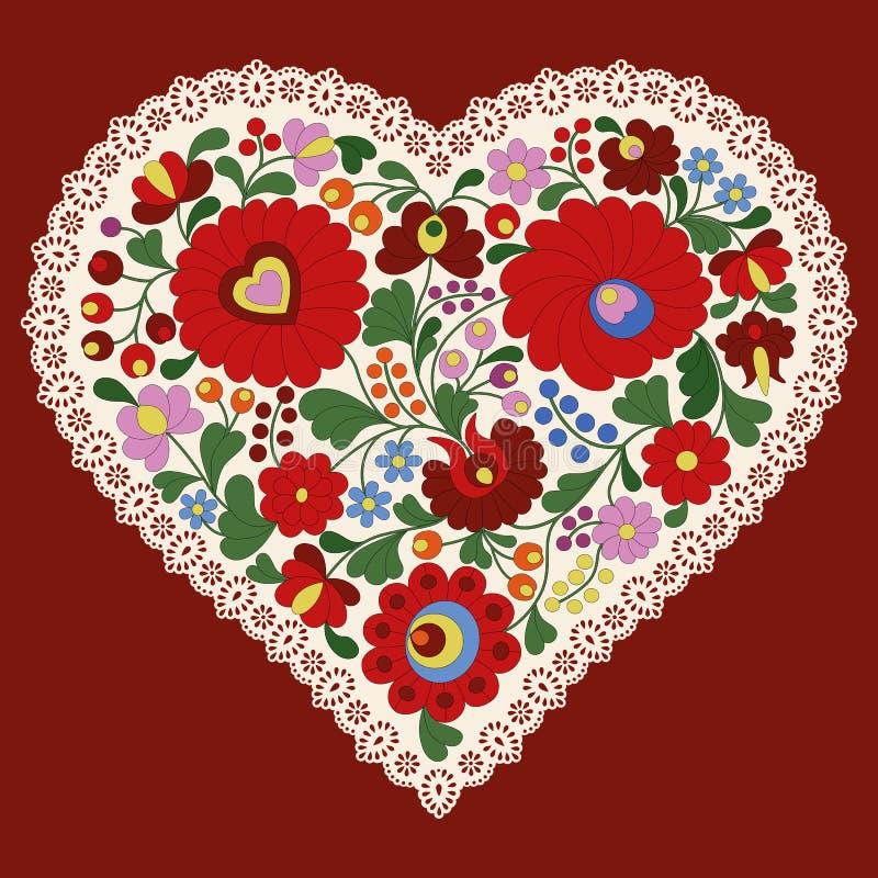 Coeur hongrois de broderie avec le bord de dentelle illustration de vecteur