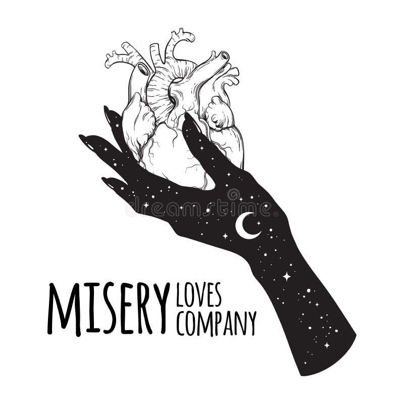 Coeur humain à disposition de la misère, obscurité, dépression Misery Loves Company illustration de vecteur