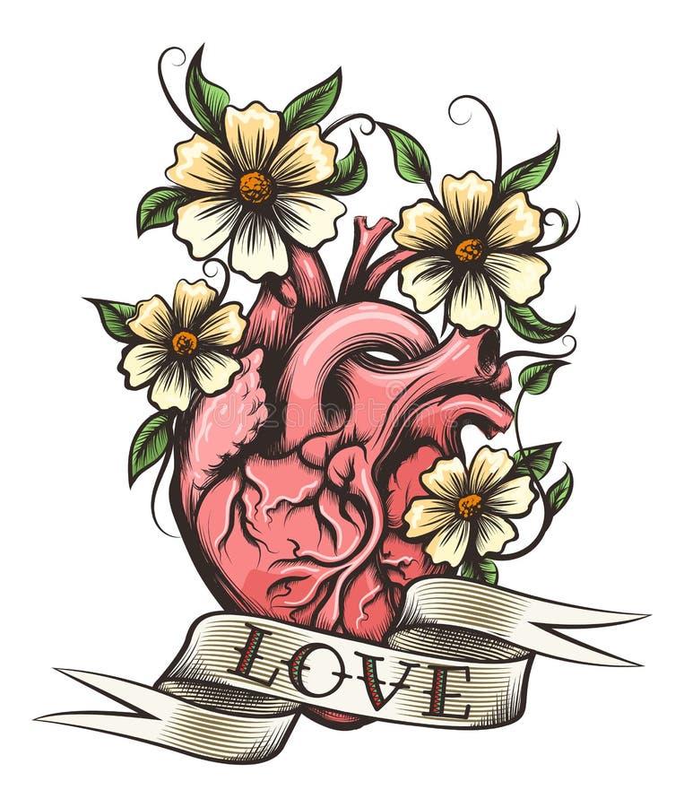Coeur humain avec des fleurs illustration stock