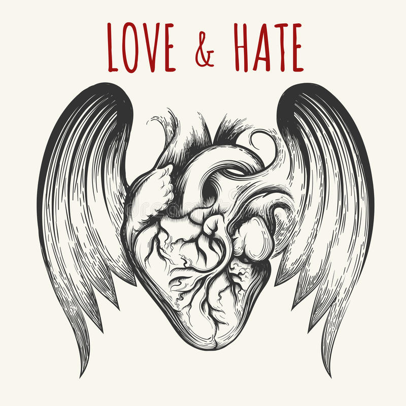 Coeur humain avec l'emblème d'ailes illustration de vecteur