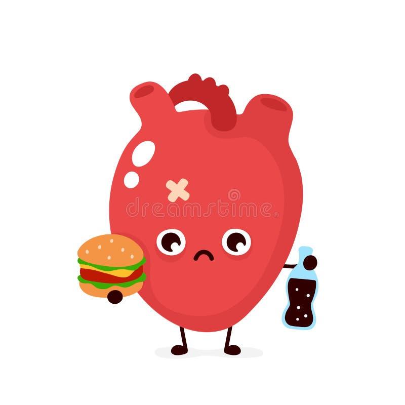 Coeur humain en difficulté malsain triste illustration stock