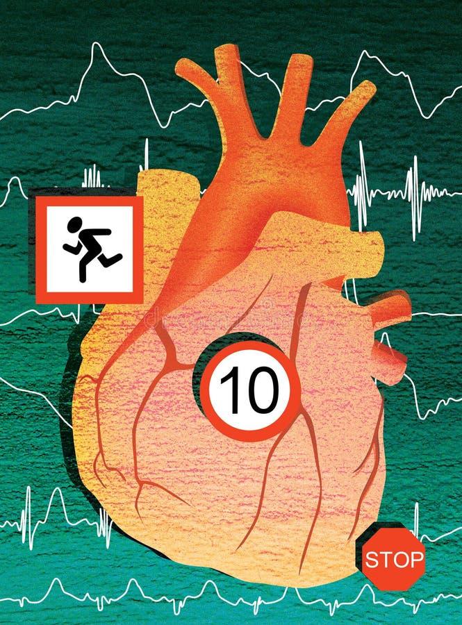 Coeur humain et cardio- charge Illustration de Digital illustration stock