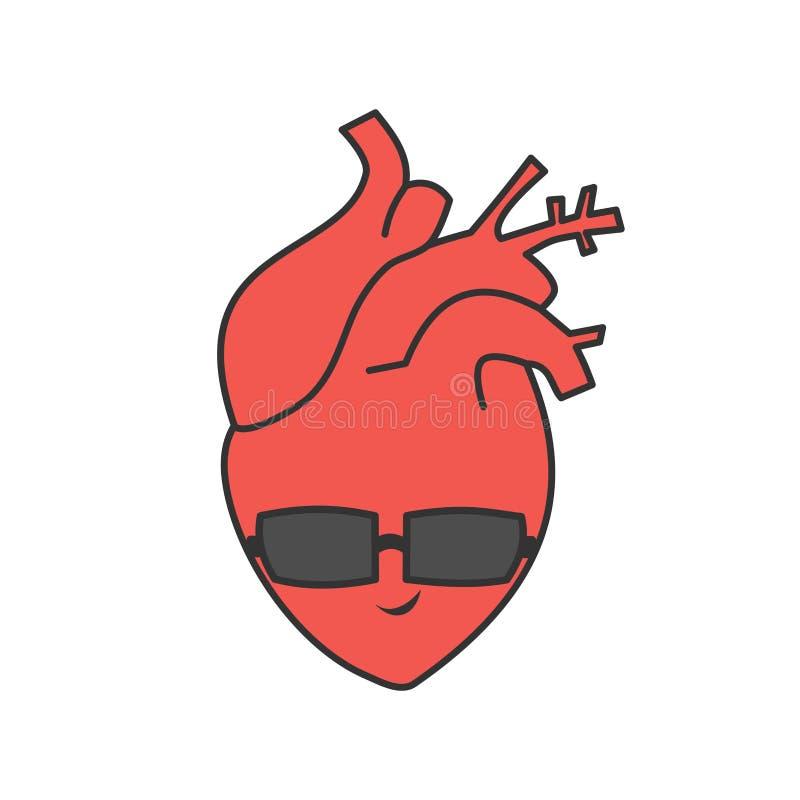 Coeur humain sain et frais de vecteur mignon de bande dessinée avec des lunettes de soleil illustration stock
