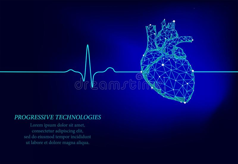 Coeur humain sain mod?le de la m?decine 3d bas poly Techologies progressifs La triangle est reli?e par des points d'illumination  illustration de vecteur