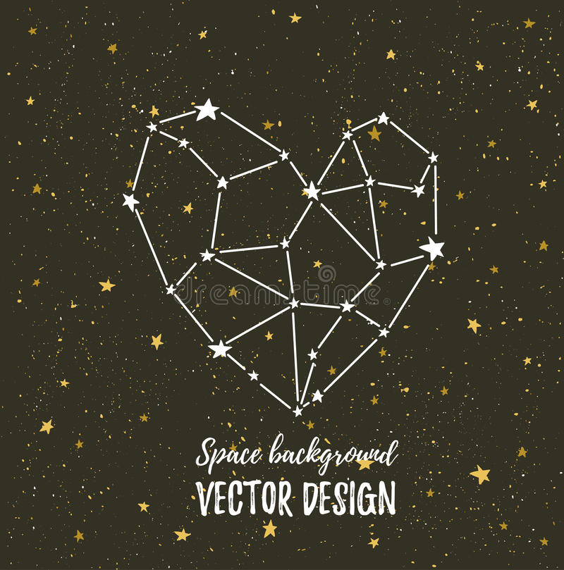 Coeur illuminé par les étoiles sur le ciel nocturne foncé avec des étoiles Dirigez le fond pour la carte de la valentine, l'affic illustration libre de droits