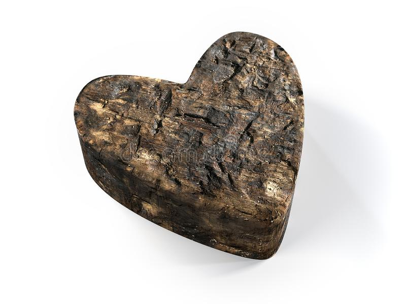 Coeur incurvé en bois illustration de vecteur