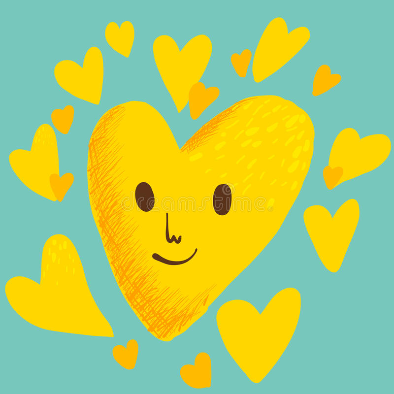 Coeur jaune illustration de vecteur