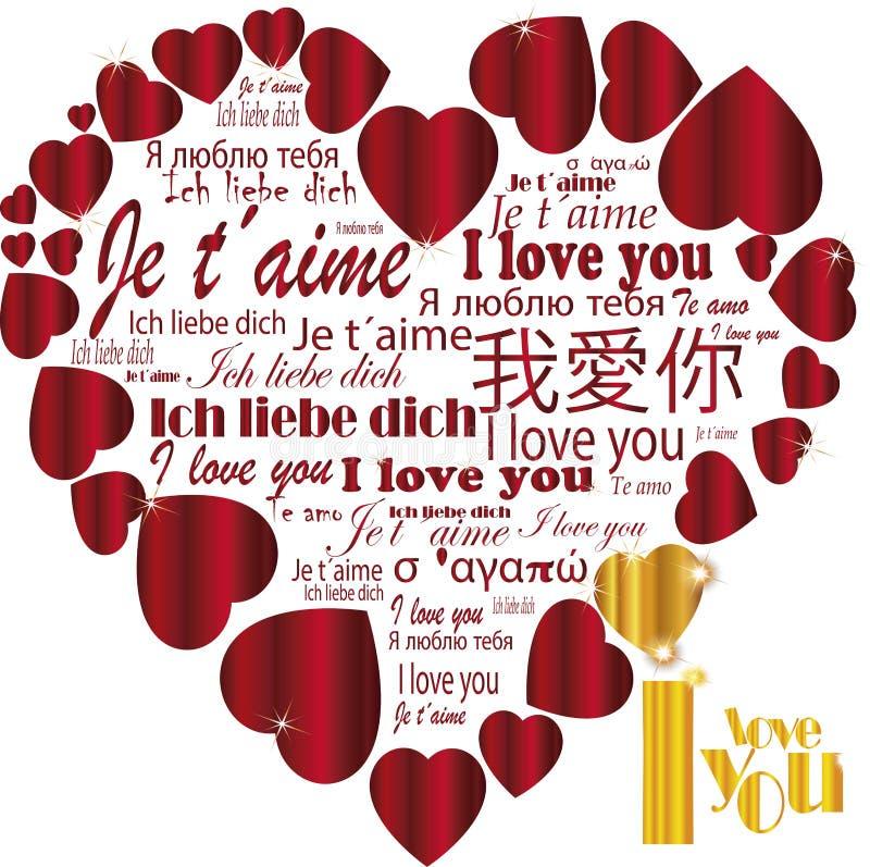 Coeur   Je t'aime dans les langues illustration stock