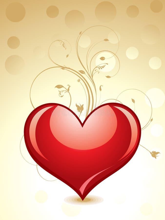 Coeur lustré abstrait avec floral illustration stock