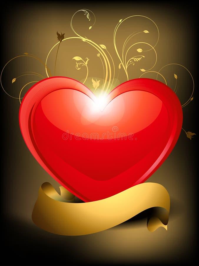 Coeur lustré abstrait avec floral illustration de vecteur