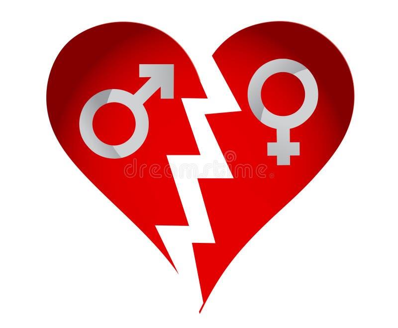 Coeur mâle et femelle illustration stock
