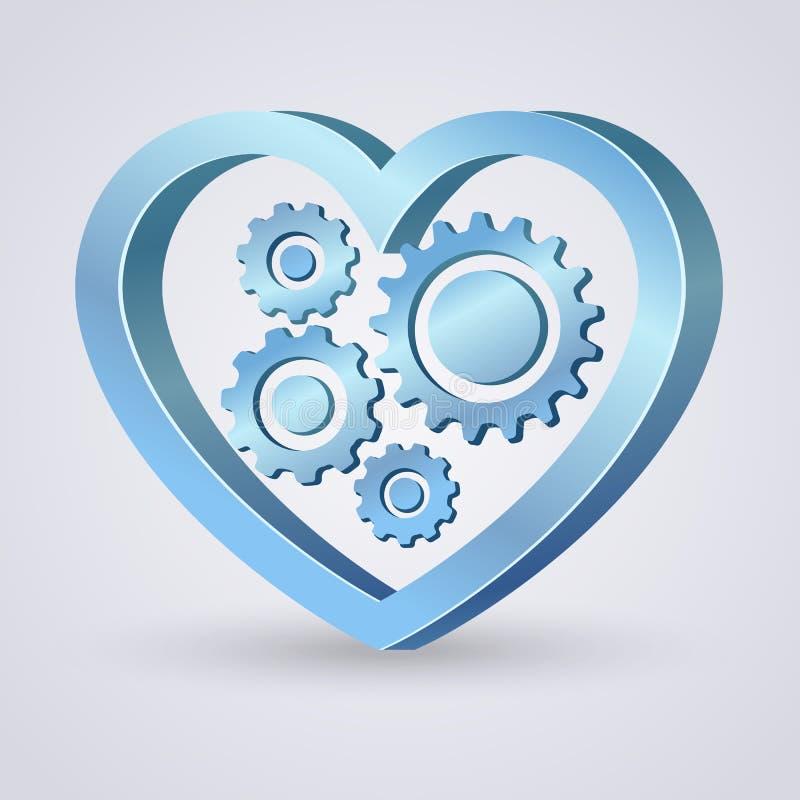 Coeur mécanique bleu illustration stock