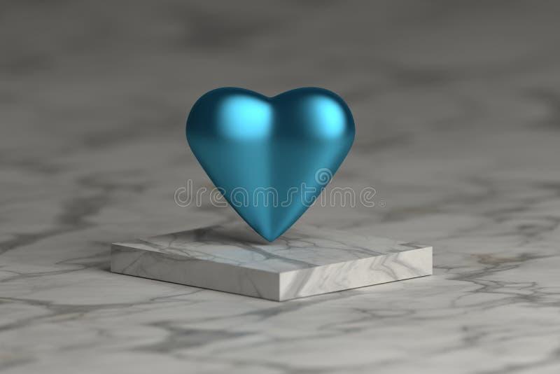 Coeur métallique brillant bleu illustration de vecteur