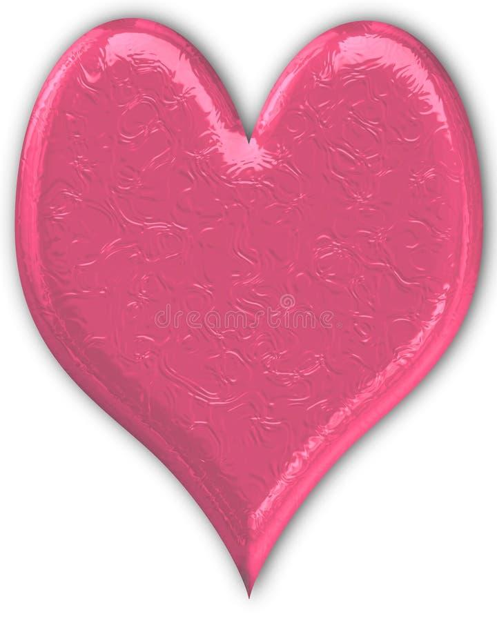 Coeur métallique rose gravé en relief illustration stock