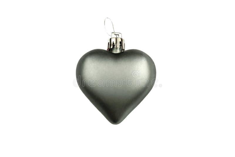 Coeur mat gris, décoration d'arbre de Noël d'isolement sur le fond blanc images libres de droits