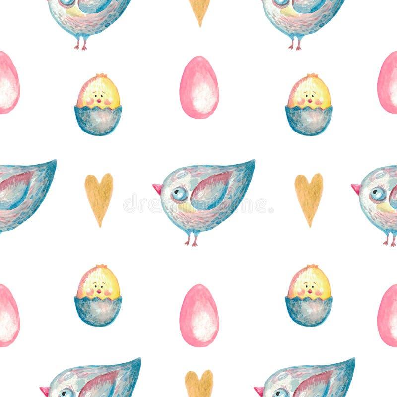 Coeur mignon de poulet d'oeufs d'oiseau de modèle sans couture sur l'illustration d'isolement blanche d'aquarelle de fond de Pâqu illustration de vecteur