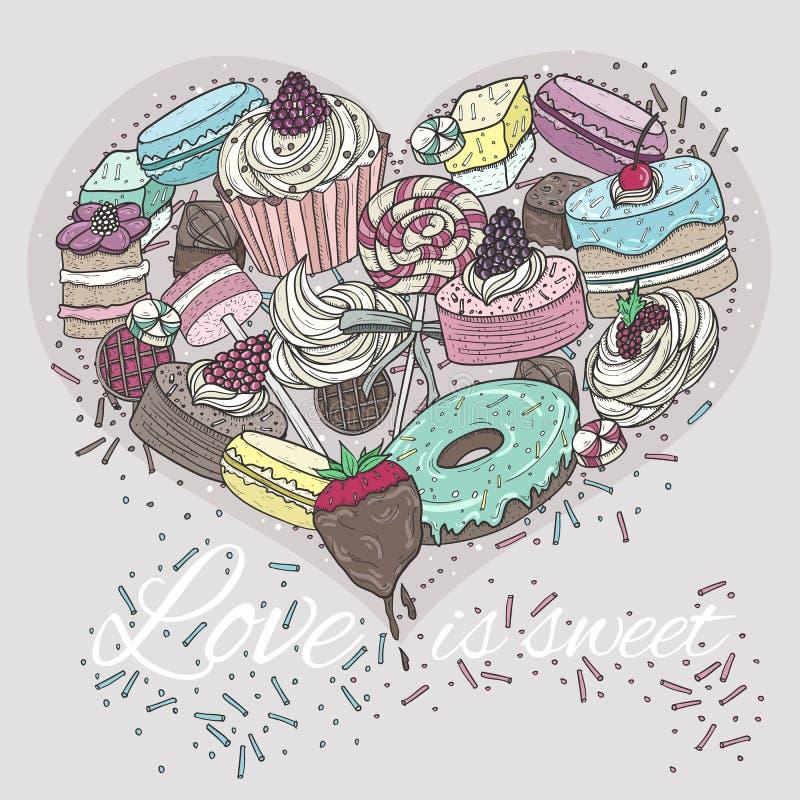 Coeur mignon des bonbons. illustration stock