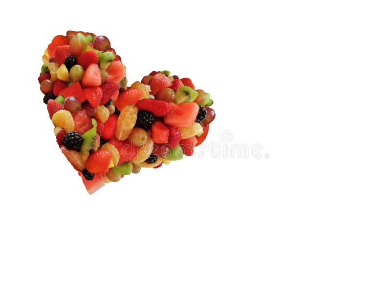 Coeur mignon Valentine Shape Isolate de fruit sur le fond blanc image stock