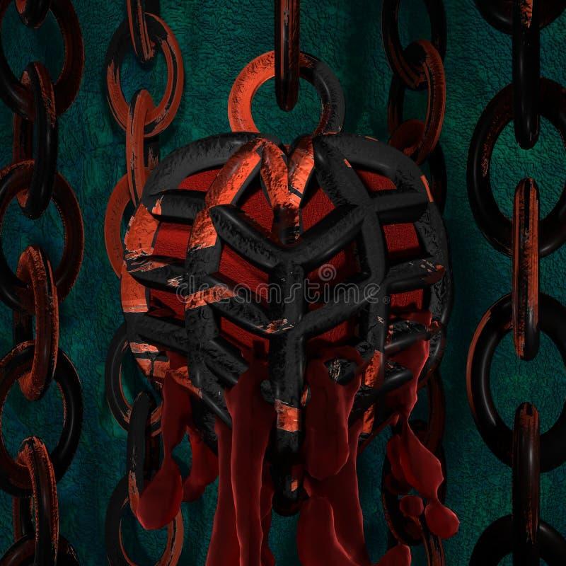 Coeur mis en cage illustration de vecteur