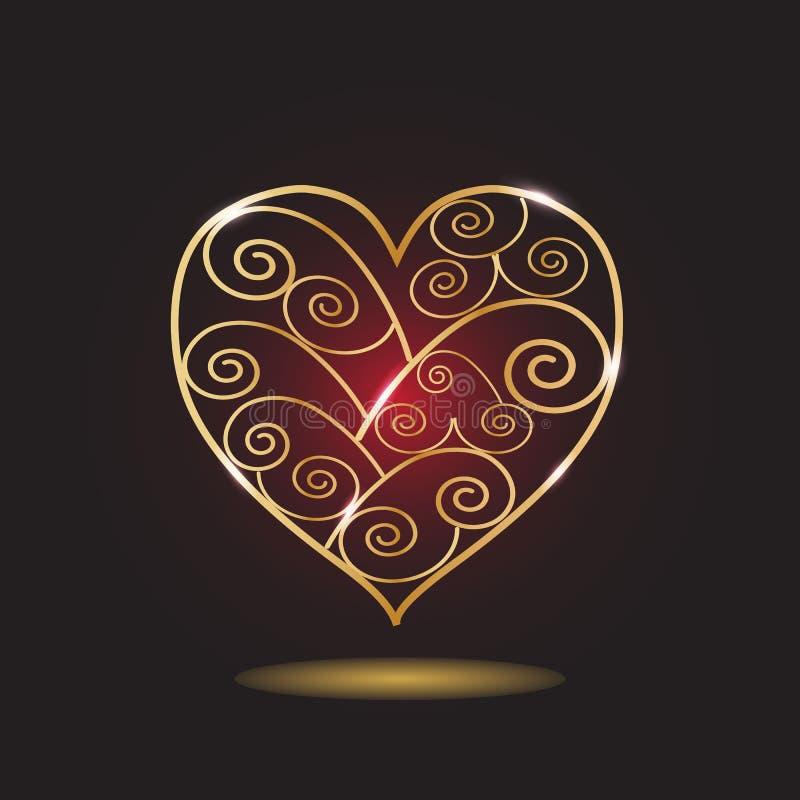 Coeur modelé par or illustration stock
