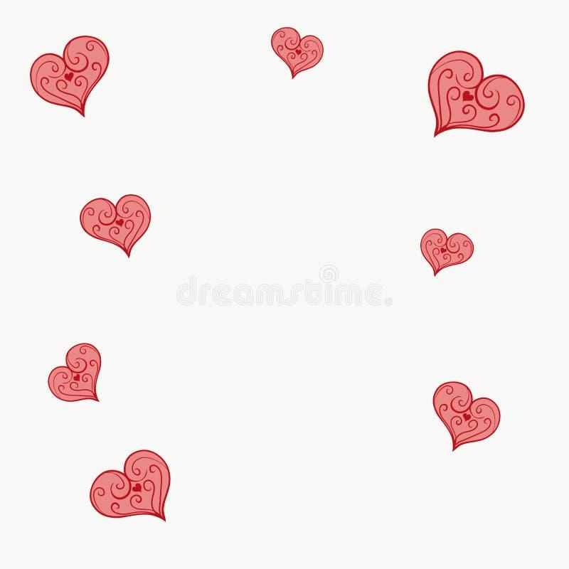 Coeur modelé par rouge sur un fond d'or illustration libre de droits