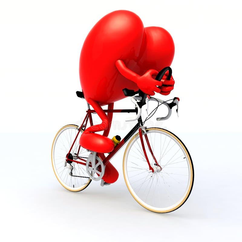 Coeur montant une bicyclette illustration libre de droits