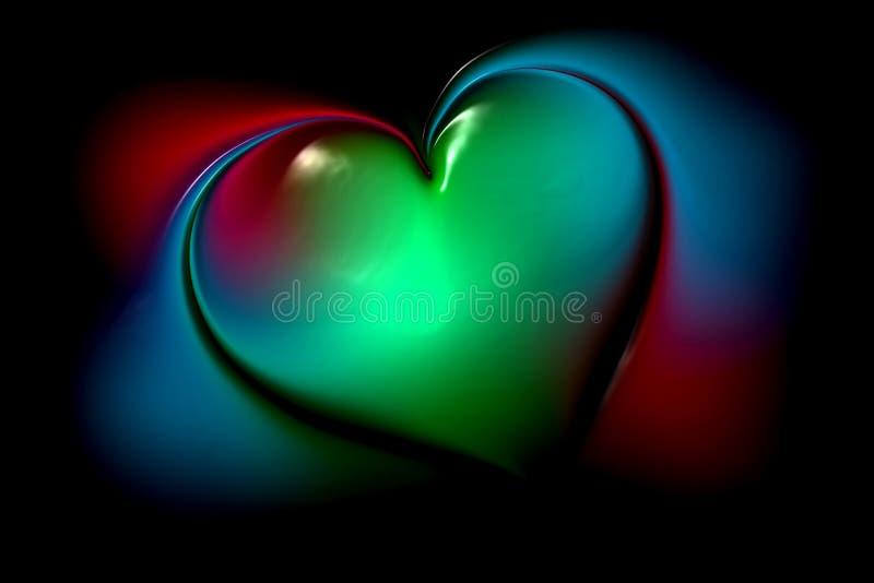 Coeur multicolore de vecteur abstrait avec le fond onduleux ombragé avec l'effet de la lumière, lisse, courbe, illustration de ve illustration de vecteur