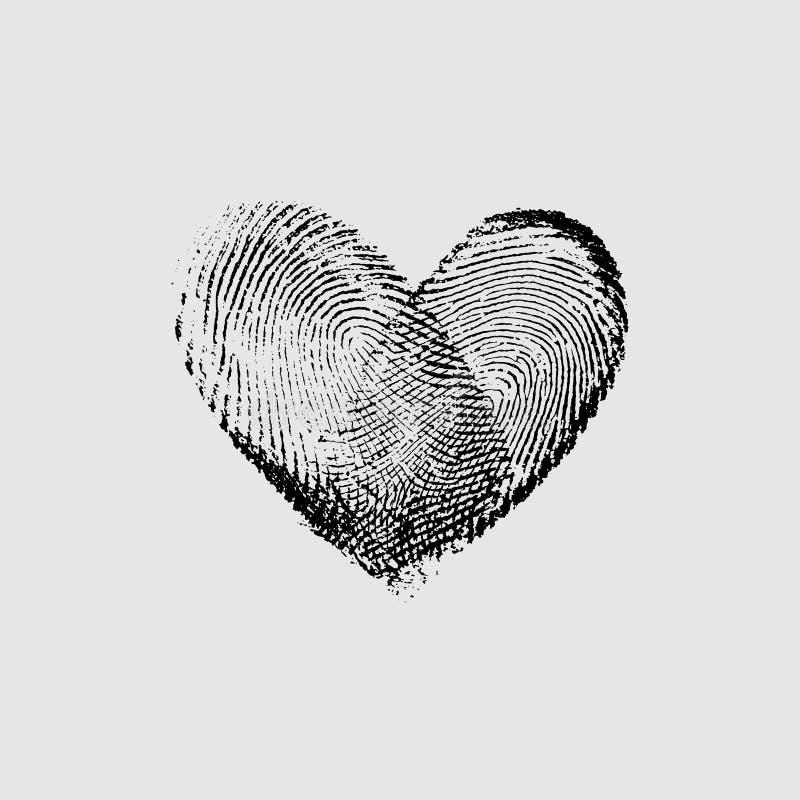 Coeur noir X d'empreinte digitale photo stock