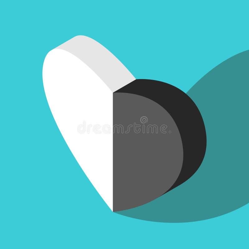 Coeur noir et blanc isométrique illustration libre de droits