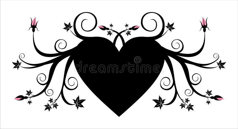 Coeur noir floral avec les bourgeons roses illustration stock