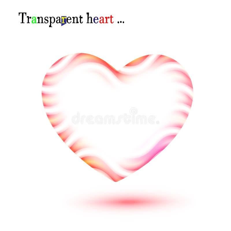 Coeur onduleux rouge transparent original pour le jour de valentines Tache floue, forme rayée de cadre un symbole de l'amour Vect illustration libre de droits