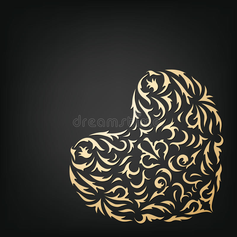 Coeur ornemental d'or illustration de vecteur