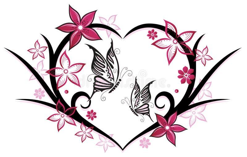 Coeur papillons fleurs illustration de vecteur - Image papillon et fleur ...
