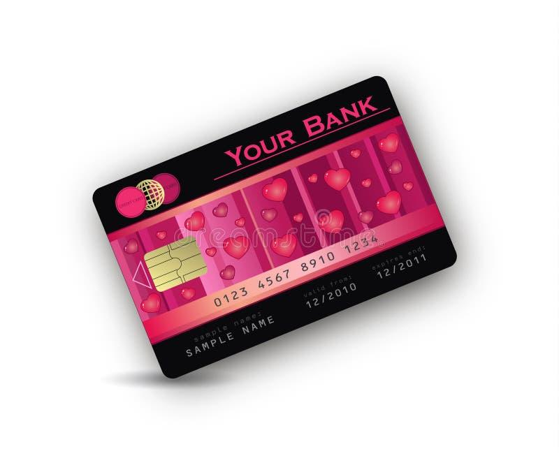 Coeur par la carte de crédit d'amour illustration libre de droits