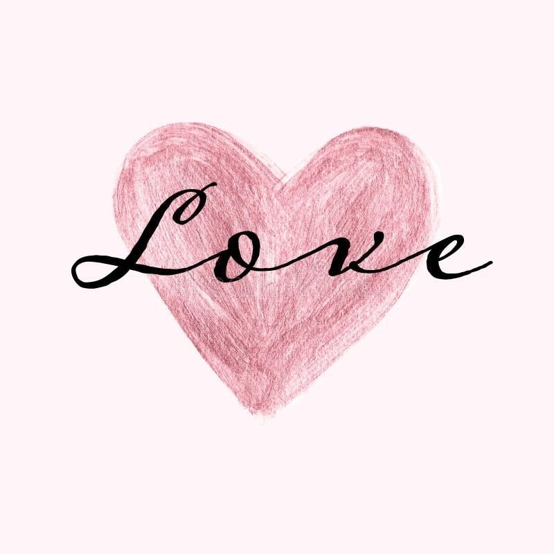 Coeur peint ? la main d'or de Rose avec le texte d'amour BANNI?RE ROSE DE COEUR illustration stock