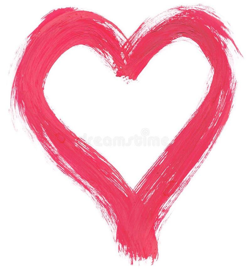 Coeur peint à la main rose photos stock