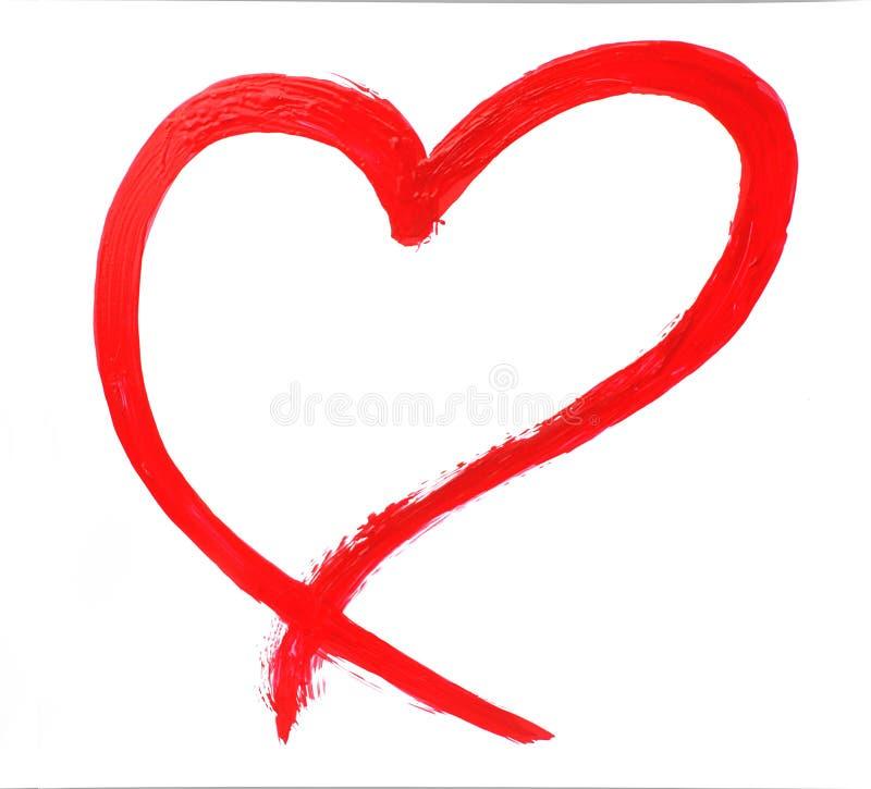 Coeur peint à la main rouge illustration de vecteur