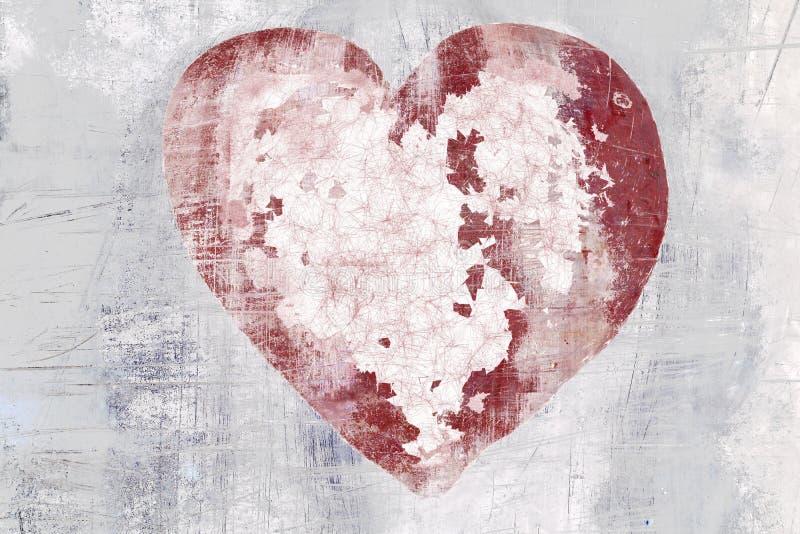 Coeur peint affligé image libre de droits