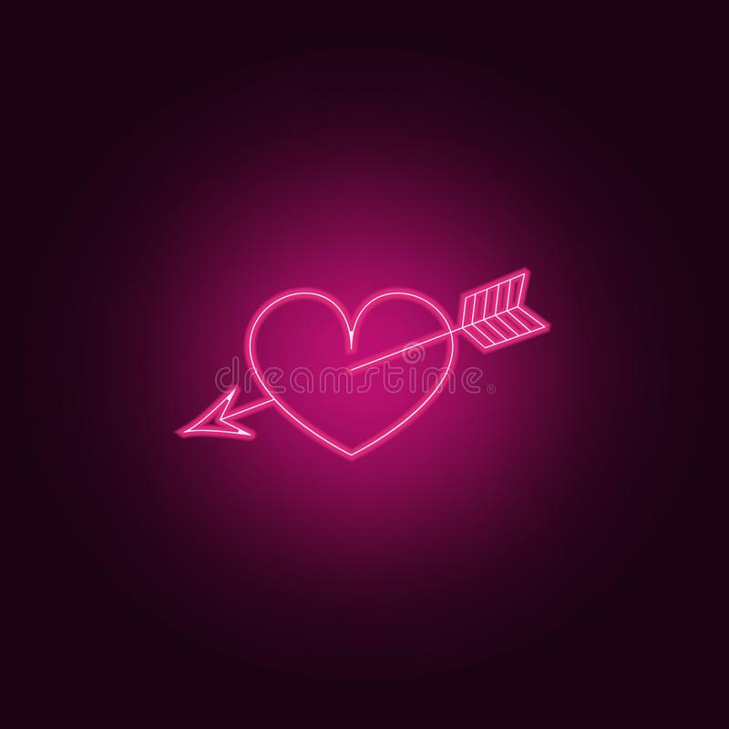 coeur percé avec une icône de flèche Éléments de Valentine dans les icônes au néon de style Icône simple pour des sites Web, web  illustration stock