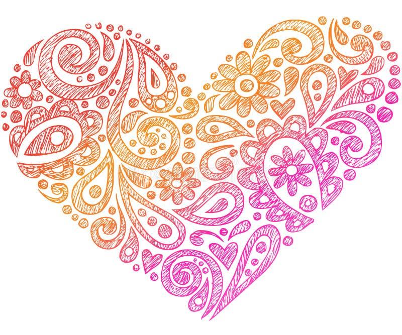 Coeur peu précis de griffonnage de cahier de henné de Paisley illustration libre de droits