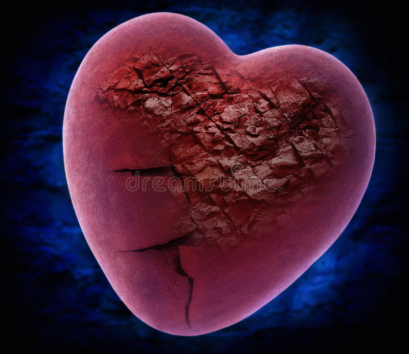 Coeur pierre à macadam pourpre image stock