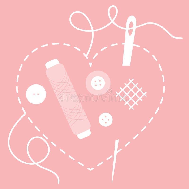 Coeur piqué, aiguille, fil, boutons couture illustration libre de droits