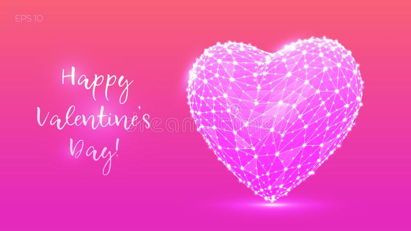 Coeur polygonal abstrait Jour du `s de Valentine Bas poly coeur des lignes et des points dans le style coloré Jour de valentines  illustration de vecteur