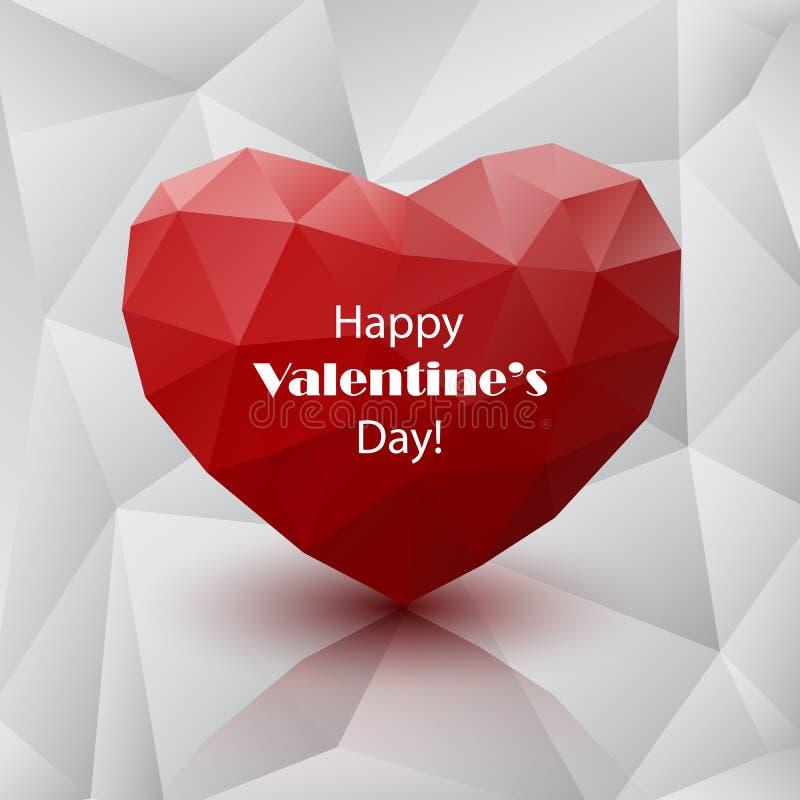 Coeur polygonal abstrait rouge illustration de vecteur