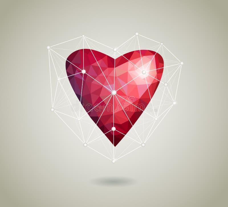 Coeur polygonal d'origami rouge sur le fond blanc avec l'ombre illustration de vecteur
