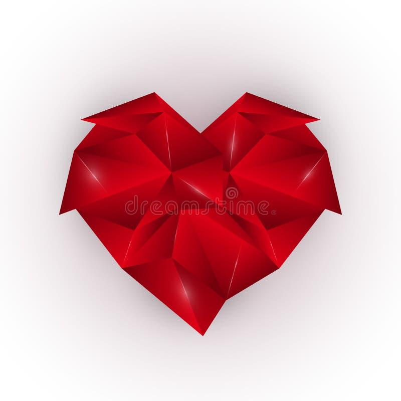 Coeur polygonal rouge de résumé sur un fond blanc Calibre élégant d'élément de conception Jour heureux du `s de Valentine illustration libre de droits