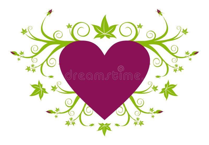 Coeur pourpré d'amour avec floral vert illustration de vecteur